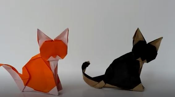 آموزش اوریگامی گربه